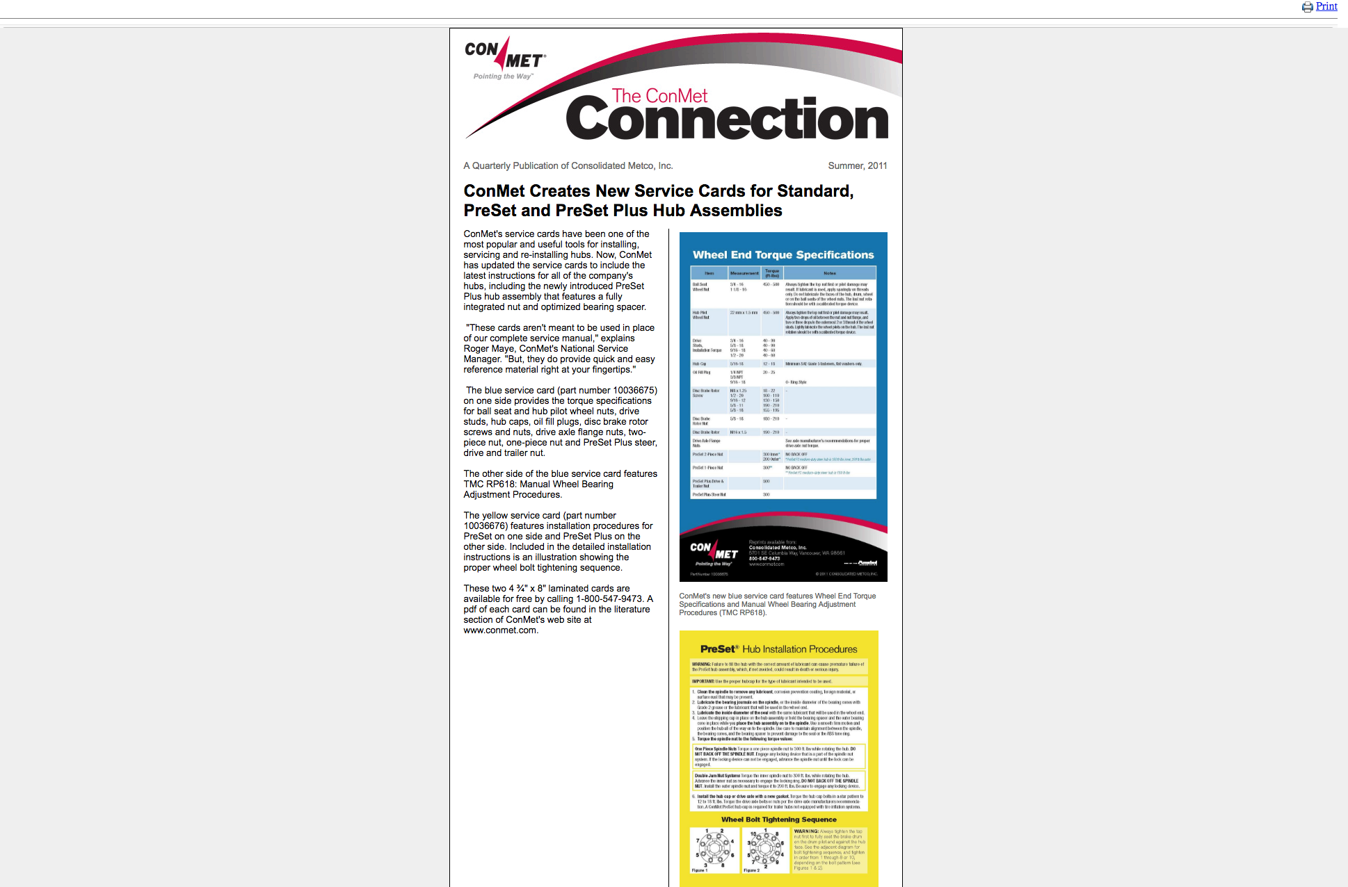 Summer 2011 – ConMet Creates New Service Cards for Standard, PreSet and  PreSet Plus Hub Assemblies